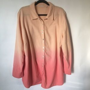 Soft soundings size 1X orange Ombré button shirt